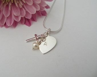 Heart, cross and pearl necklace