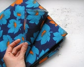 Vintage flannel cotton fabric 3.3 yards in 1 listing, blue navy and orange, floral pattern