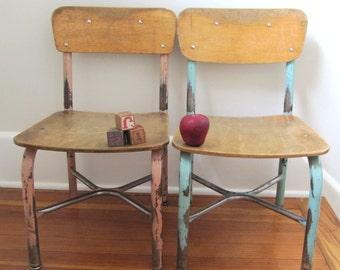 "Vintage Wood School Chair, 13"" size, School Chairs, Blue chairs, Industrial School,"