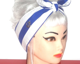 Sailor Nautical Headband Navy blue and white Stripes Anchor charm Pinup Vintage Retro Style 50s