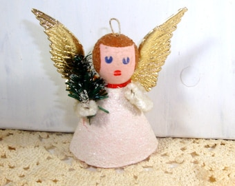1960's Angel Christmas Ornament, Mica, Gold Wings, Holiday Tree Ornament  (397-14)