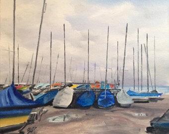 Swanage Boatyard. Signed Ltd Edition Fine Art Print by Rob Parkinson.