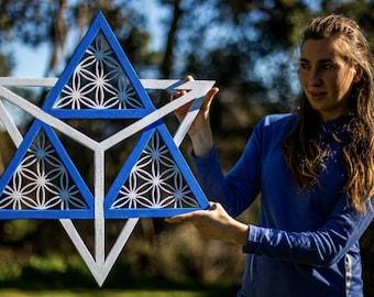 Bluerity Lx - Merkaba, handmade 3D art, sacred geometry, psychedelic, wall art, home decor, mandala, spiritual gift, yoga, UV, Blacklight