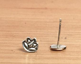 Sterling Silver Lotus Flower Post Earrings