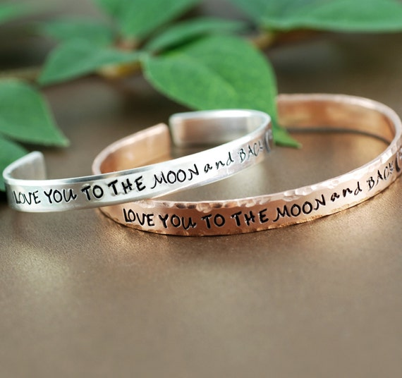 Love you to the Moon and Back Cuff Bracelet. Personalized Bracelets, Moon and Back Jewelry, Moon and Stars Jewelry, Custom Cuff Bracelets