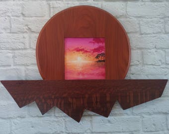 "Original Miniature Painting, ""Island in the Sky"", Acrylic on Canvas, Custom Exotic Hardwood Frame"