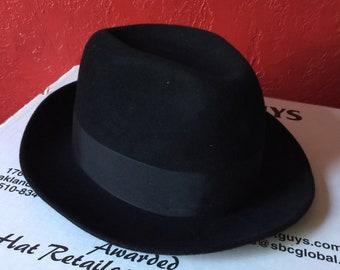 Royal Stetson Saxon Fedora Hat ~ Black Fur Felt, Leather Interior Band ~ Size 7 /2 R, 7.5 R