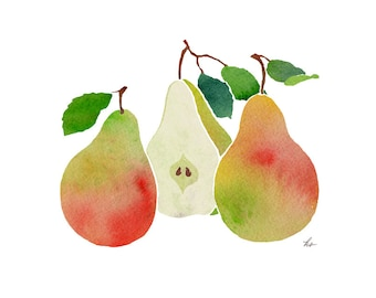 pears print, printable JPEG of pears, downloadable art with pears, pears painting, pears watercolor, print out pears, digital pears drawing