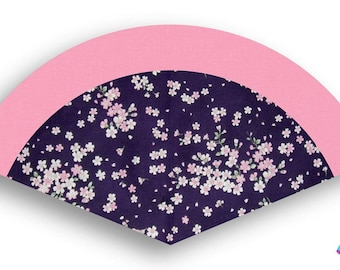 Washable Hand Fan Pink Cherry Blossoms with Purple