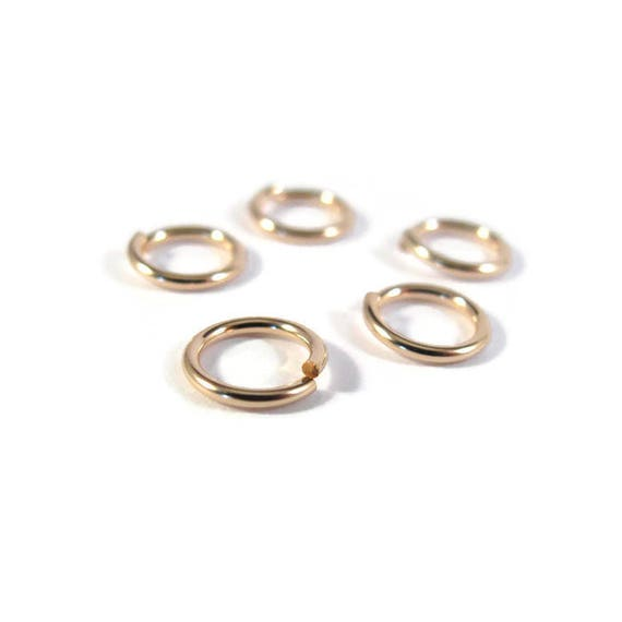 8mm Open Rings, Five (5) 14/20 Gold Filled Jump Rings, 18 Gauge, Jewelry Findings, Gold Rings, Connectors, Strong Jump Rings (Gj108)