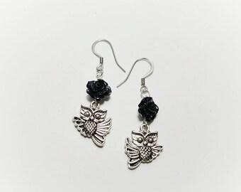Black Rose Owl Earrings, Cute Owl Earrings, Black and Silver Owl Earrings, Floral Owl Earrings, Night Owl Earrings, Owl Jewelry, Rose Owl