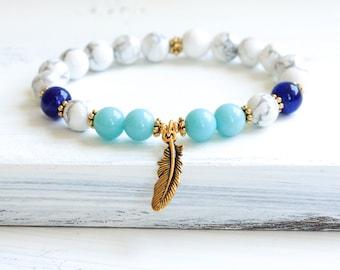 Howlite Mala Bracelet, Amazonite Mala Beads, Yoga Bracelet, Wrist Mala Prayer Beads, Boho Jewelry, Yoga Jewelry