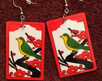 Hanafuda Earrings (Original Style) - February: Ume - Plum