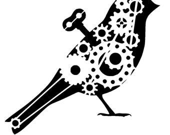 """6/6"""" steampunk cogs bird stencil 2."""