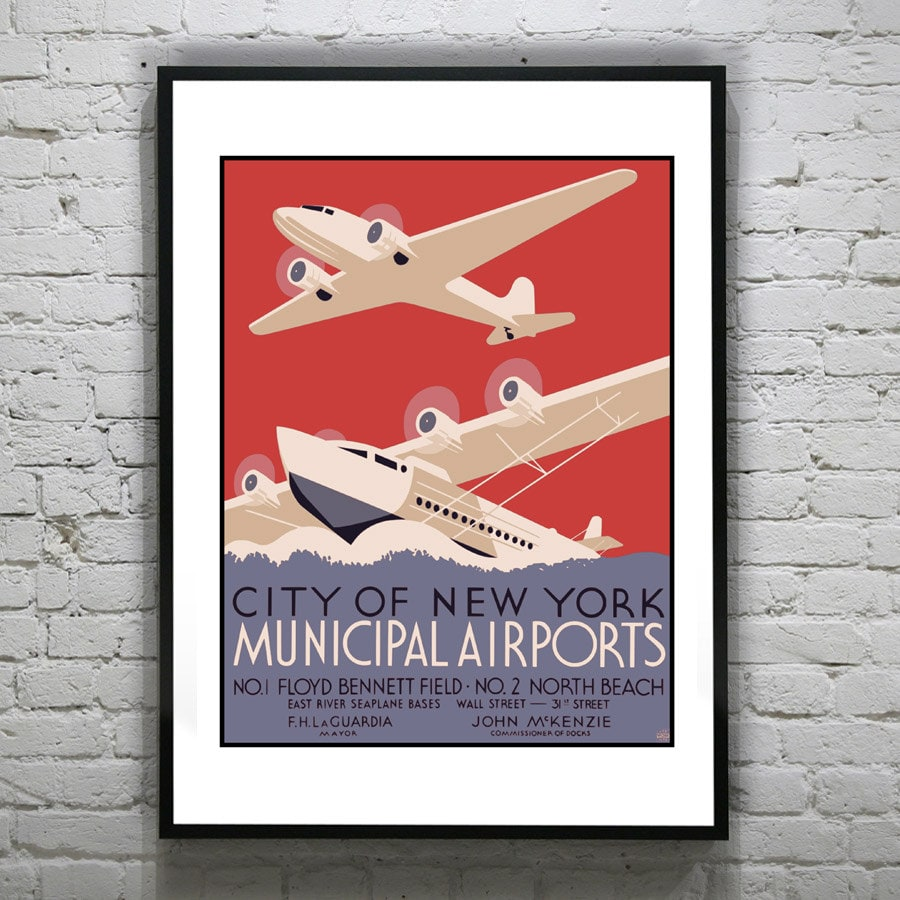 1920\'s Vintage City of New York Airports Travel Art Print Poster ...