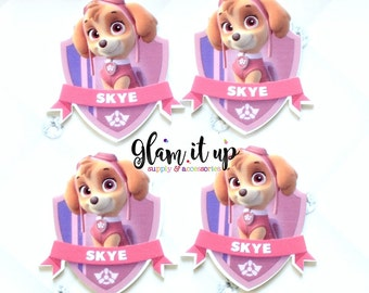Skye paw patrol bow center-skye center- paw patrol Flatback resin- skye cabochon-skye hair bow supply-paw patrol