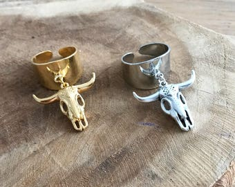 Brass ring adjustable with Buffalo head