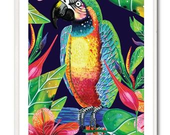 Parrot in the tropics watercolour poster - A3 ( 11.7 x 16.5 inches)