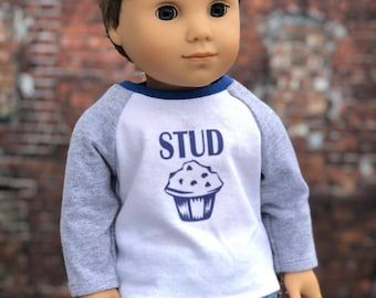 American Boy Doll Clothes - Stud Muffin Graphic BOY Long Sleeve Raglan BASEBALL TEE for 18 Inch Doll
