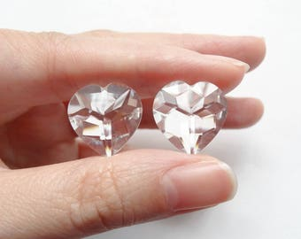 Sparkly Crystal Quartz Half Top drilled Faceted Heart Drops 15 mm One Pair G6347