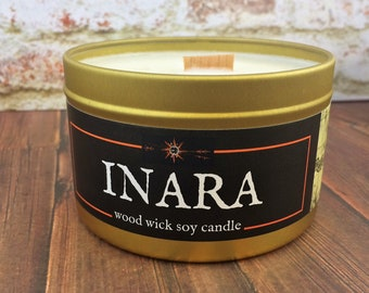 INARA Candle | Wood Wick, 100% Soy | Gold Tin | 4 & 8 oz | SciFi- Fantasy- RPG - Firefly Geek Gift