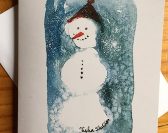 Snowman Notecard, Professionally Printed from my Original Watercolor