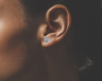14K Yellow Gold Stud Earrings | Three Stone stud earrings | Moissanite earrings | Diamond earrings