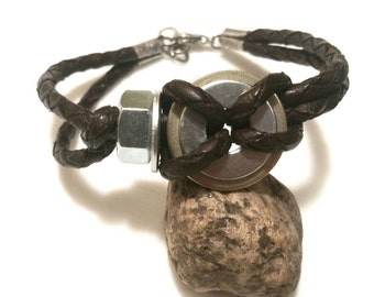 Jewelry Guy Bracelet Mens Leather Bracelet Mens Gift Boyfriend Gift Trending Now Recycle Upcycled Trending Jewelry Sale R34