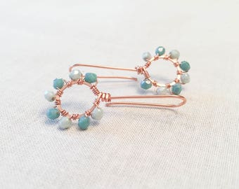 Copper and Teal Wire Wrapped Modern Drop Earrings - Artisan OOAK Teal, Aqua, Mint Czech Crystals Wrapped with Copper Wire Summer Bohemian