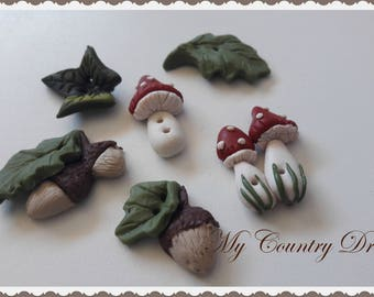 "Handmade Buttons ""In the woodland"""
