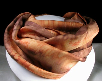 Silk Scarf, Hand Painted Silk Scarf, Brown - Coral Cliffs