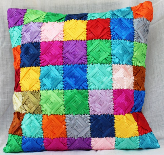 Easy pattern ribbon embroidery work cushion cover
