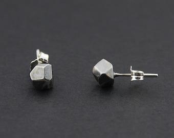 Faceted Stud Earrings: Oxidised Sterling Silver