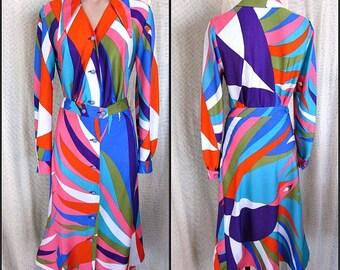 LOLA KAY 1960s Op Art Print Blouse Skirt 2-pc dress // fits S-M // 60s Belgium Mod Era