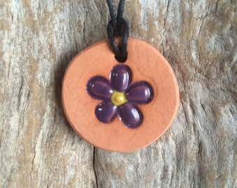 Purple Flower Diffuser Necklace | Essential Oil Diffuser | Girls Terracotta Necklace | Aromatherapy Jewelry