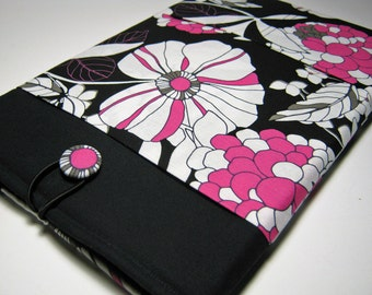 Macbook Air Sleeve, Macbook Air Cover, 11 inch Macbook Air Case, 11 Inch Macbook Air Cover, Laptop Sleeve, Pink and Black Floral