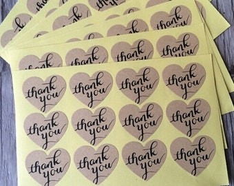 Vintage Heart Shaped Kraft Thank You Stickers / 36 Labels Per Set