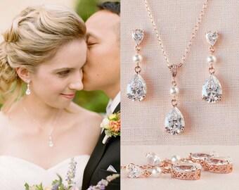 Bridal Jewelry SET, Rose Gold  Wedding jewelry Swarovski Pearl Wedding earrings, Pendant, Bridal jewelry, Crystal Drop and Pearl SET