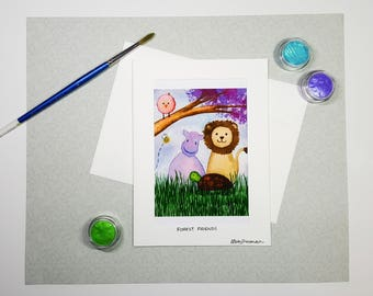 Watercolor Baby Shower Card, Animal Card, Baby Birthday Card, Kids Card, Lion Hippo Turtle Owl Greeting Card, Kids Watercolor Art Card