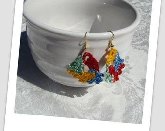 Primary colors bold crocheted fan earrings