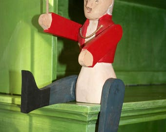 Antique Hand Carved WOODEN SOLDIER folk art articulated posable figure shelf sitter antique toy farmhouse rustic decorative accent Americana