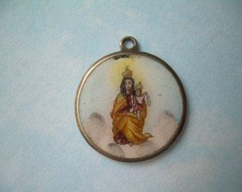 Antique Our Lady of Carmen Porcelain Enamel Charm Pendant-Vintage Sterling Silver-Infant Jesus & Mary-Nuestra Señora del Carmen-Two Sided