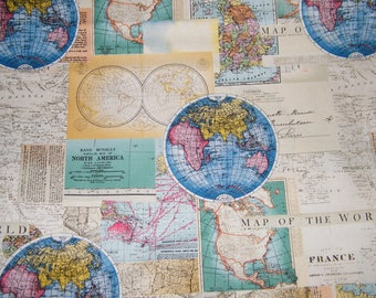 World map fabric etsy bty vintage cartography world map 100 cotton quilt craft david textiles fabric by the yard gumiabroncs Choice Image