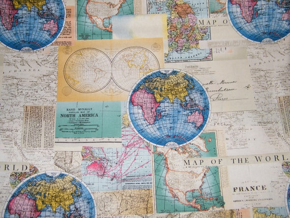 Bty vintage cartography world map 100 cotton quilt craft david bty vintage cartography world map 100 cotton quilt craft david textiles fabric by the yard from tweetyshangout on etsy studio gumiabroncs Images