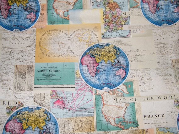 Bty vintage cartography world map 100 cotton quilt craft david bty vintage cartography world map 100 cotton quilt craft david textiles fabric by the yard from tweetyshangout on etsy studio gumiabroncs Image collections