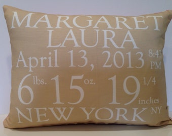 Birth Announcement Pillow baby gift birthday baby shower new baby girl boy custom