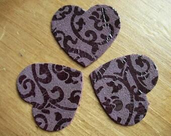 set of 3 hearts purple leather
