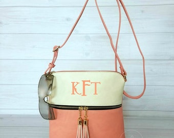 Monogram Small Coral Crossbody Purse With Tassels - Monogram Purse - 2 Tone Crossbody -Monogrammed Handbag - Gift For Her - Personalized Bag