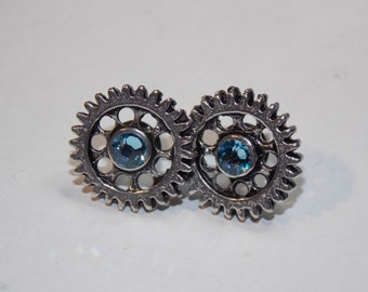 Industrial Elegance Stud Earrings - Custom Colors Available - Steampunk, Crystal, Victorian