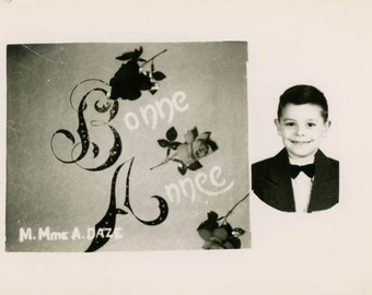vintage photo 1945 HAndsome Little Boy Bonne Annee Happy New Year Roses RPPC